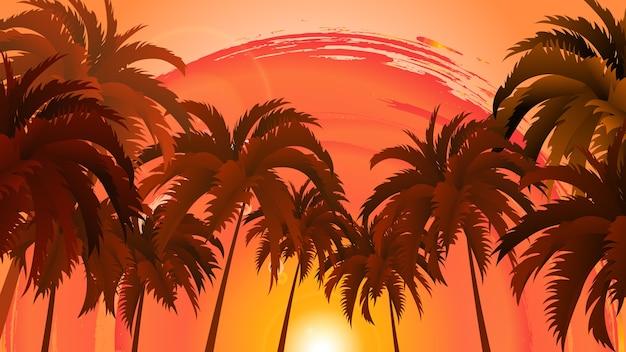 Paisagem de vetor de palmeiras sobre céu e sol abstratos.