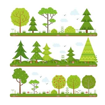 Paisagem de vetor definido com árvores da floresta
