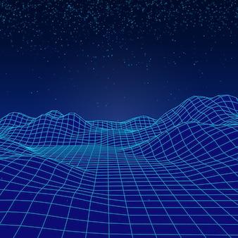 Paisagem de vetor digital 3d com partículas caindo como uma neve.