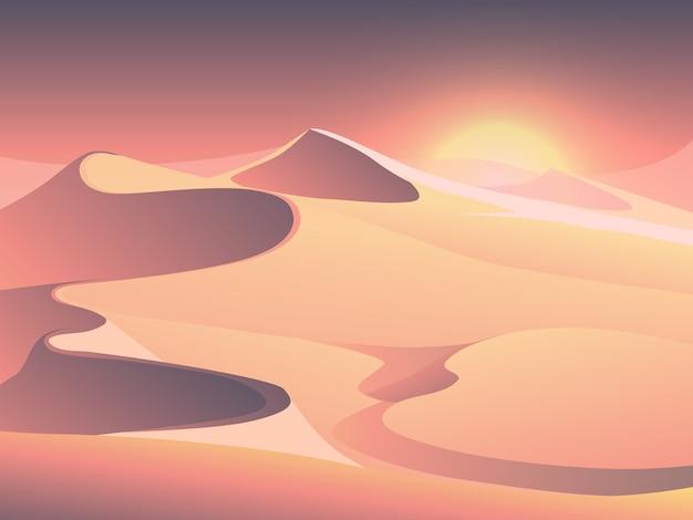 Paisagem de vetor do sol do deserto com dunas de areia