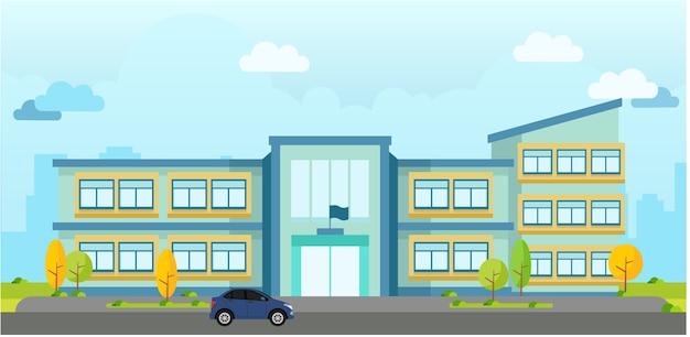 Paisagem de vetor moderno prédio escolar