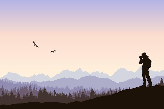 Paisagem de vetor observação de pássaros ao nascer do sol silhueta de uma viagem solitária tirando fotos de pássaros