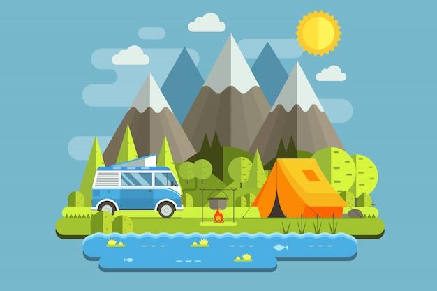Paisagem de viagem de acampamento de montanha com ônibus de acampamento rv em design plano.
