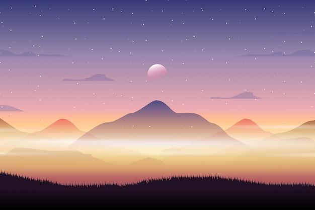 Paisagem de vista para a montanha com o céu da noite estrelada