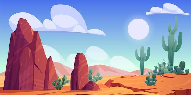 Paisagem desértica com rochas, cactos e montanhas no horizonte