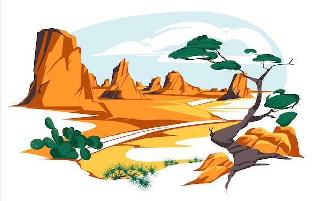 Paisagem desértica com rochas e cactos, estrada plana de areia, deserto com montanhas laranja