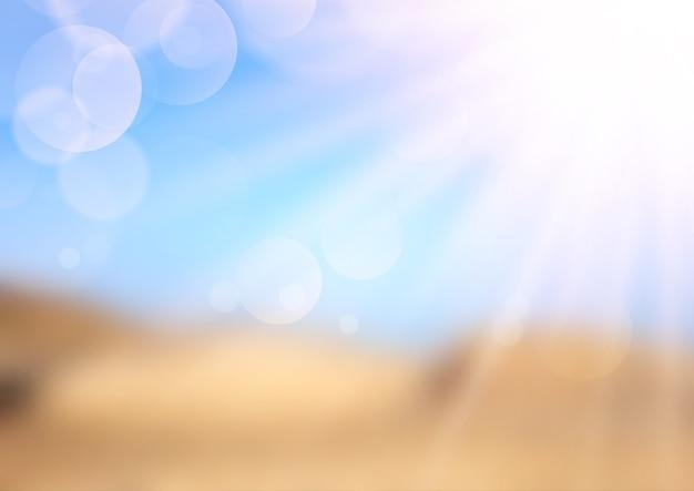 Paisagem desfocada de verão com raios de sol
