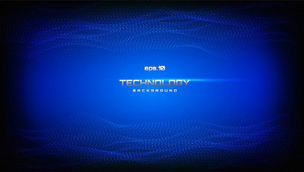 Paisagem digital abstrata com partículas fluidas. fundo digital de tecnologia cibernética no estilo futurista ondulado