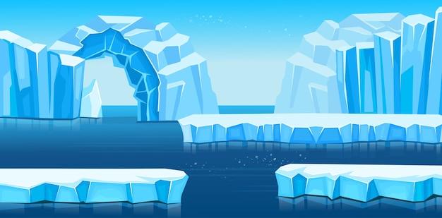 Paisagem do ártico com icebergs e mar ou oceano. panorama da antártica.