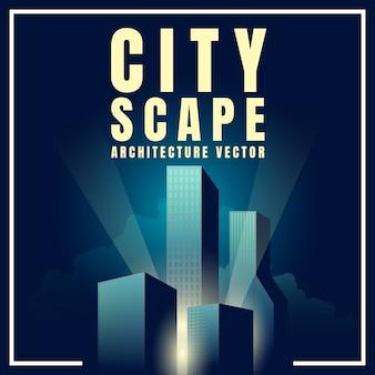 Paisagem do centro da skyline da cidade com o cartaz retro das construções da arquitetura dos arranha-céus. ilustração vetorial