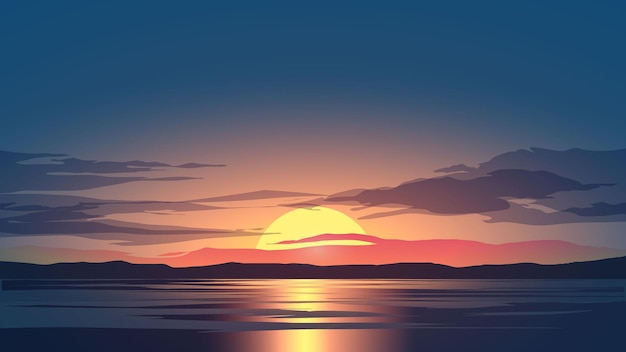 Paisagem do céu ao pôr do sol com nuvens