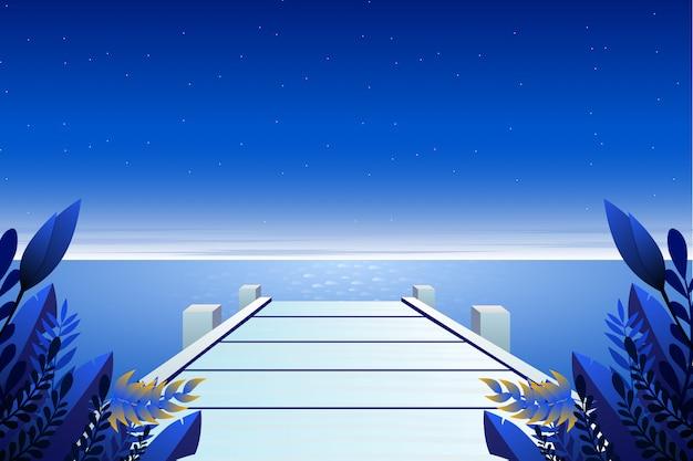 Paisagem do céu azul e do mar ao fundo da ponte