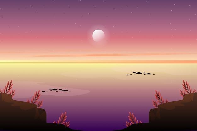 Paisagem do céu do pôr do sol com fundo da paisagem do mar