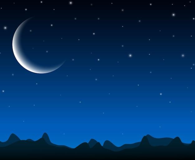 Paisagem do céu noturno com montanhas de silhueta