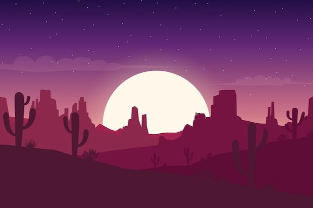 Paisagem do deserto à noite com silhuetas de cactos e colinas