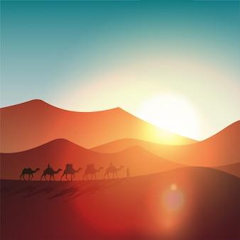 Paisagem do deserto à tarde com silhueta de camelos