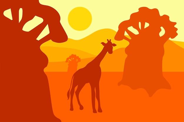 Paisagem do deserto com águia, cactos e sol. oeste selvagem. vetor