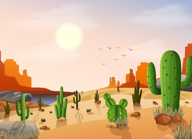 Paisagem do deserto com cactos no fundo do sol