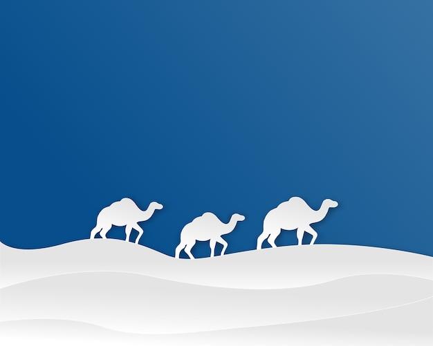 Paisagem do deserto com camelos em estilo de corte de papel. ilustração.
