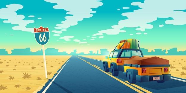 Paisagem do deserto com o suv na maneira do asfalto à garganta, área deserta. rota 66 com transporte