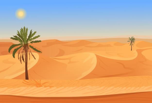 Paisagem do deserto com palmeiras