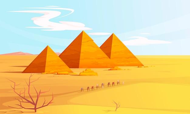 Paisagem do deserto com pirâmides egípcias e camelos