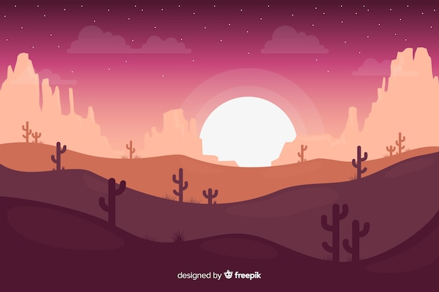 Paisagem do deserto durante a noite com lua