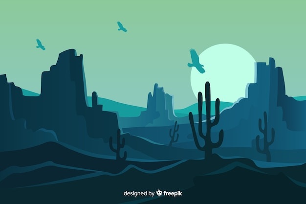 Paisagem do deserto em uma noite de lua cheia