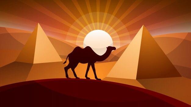 Paisagem do deserto - ilustração do camelo.