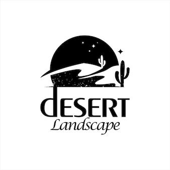 Paisagem do deserto logotipo simples natureza rústica