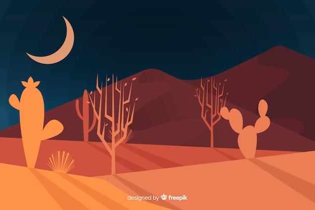 Paisagem do deserto no fundo da noite