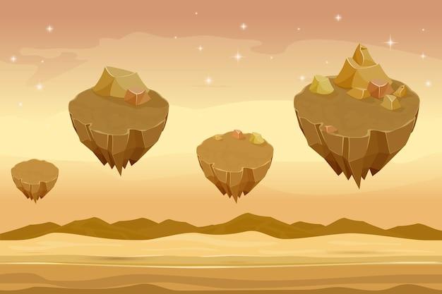Paisagem do deserto sem costura dos desenhos animados, deserto arenoso com montanhas no fundo.