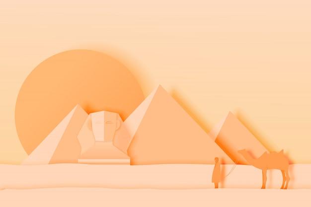 Paisagem do egito com pirâmide na arte de papel