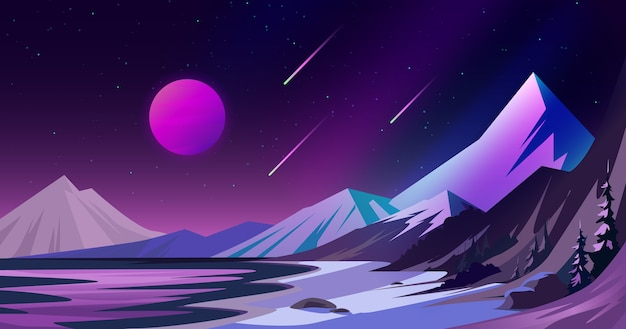 Paisagem do espaço com montanhas.