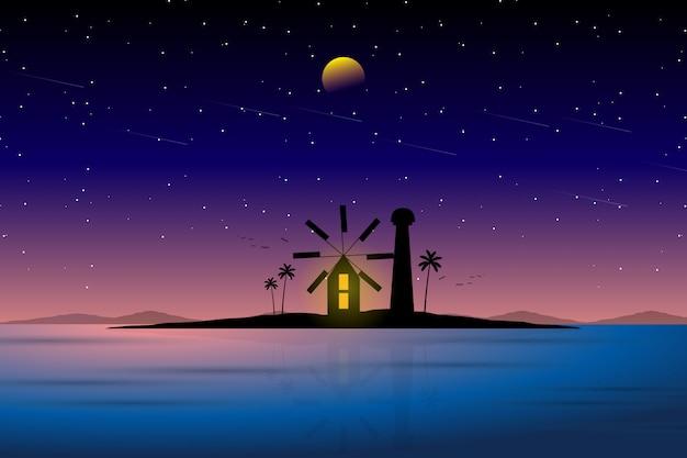 Paisagem do farol e céu noturno estrelado