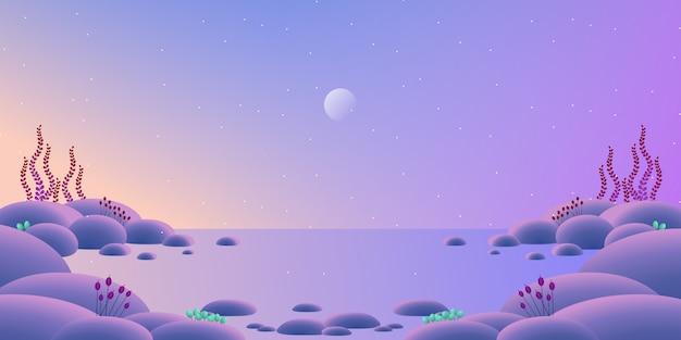 Paisagem do horizonte com ilustração colorida do fundo do céu e do mar à noite