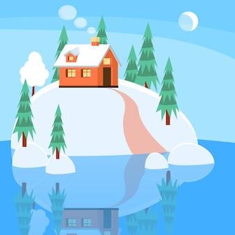 Paisagem do inverno com casa em pó, árvores, abetos vermelhos na terra coberta de neve no lago.
