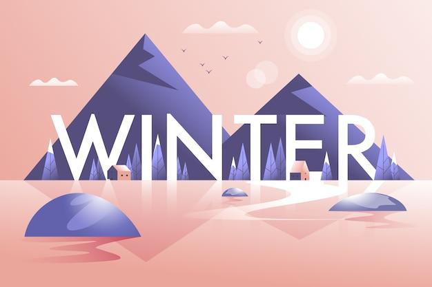 Paisagem do inverno com montanhas e lago