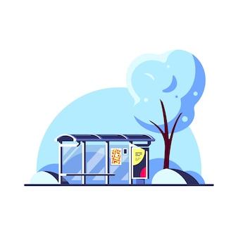 Paisagem do inverno com parada de ônibus e árvore isolada no fundo branco. .