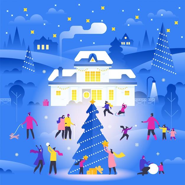 Paisagem do inverno com pessoas pequenas andando na rua suburbana e realizando atividades ao ar livre.