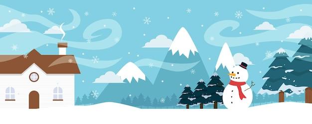 Paisagem do inverno com pinheiros e neve. fundo de natal. para design de panfleto, banner, pôster, convite
