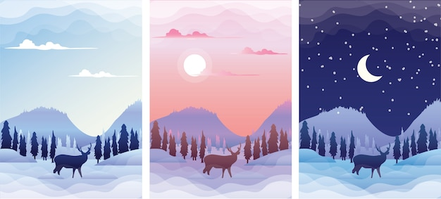 Paisagem do inverno com silhueta de veado ao nascer do sol, pôr do sol e noite