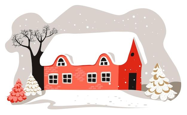 Paisagem do inverno da zona rural ou vila, casa com telhado coberto de neve. clima frio e gélido na cidade ou pequena cidade. prédios e árvores, vistas panorâmicas de nevasca, vetor em plano