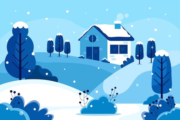 Paisagem do inverno em design plano