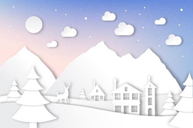 Paisagem do inverno em estilo de jornal