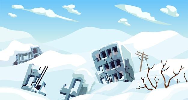 Paisagem do jogo dos desenhos animados da idade do gelo com montanhas de neve e cidade