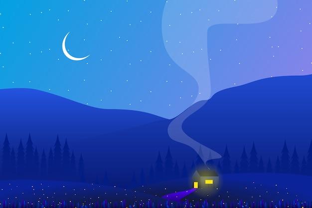 Paisagem do lado do país com floresta de pinheiros e noite do céu
