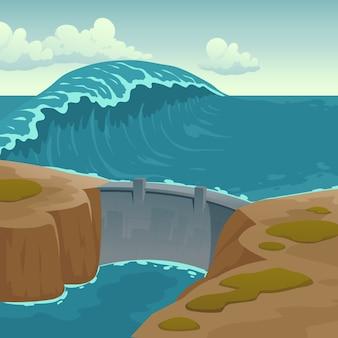 Paisagem do mar com barragem e grande onda