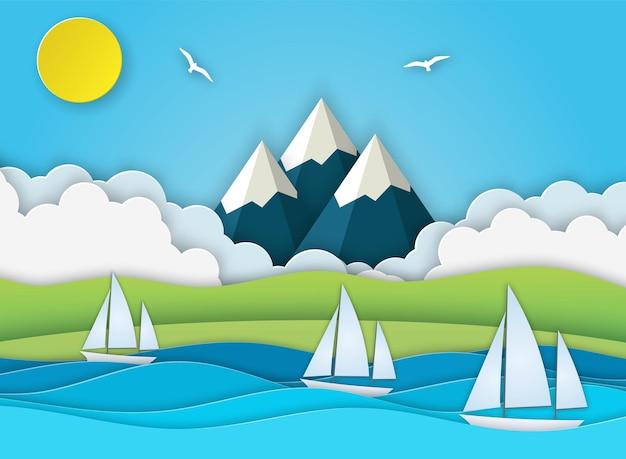 Paisagem do mar com ilha, ondas, nuvens.