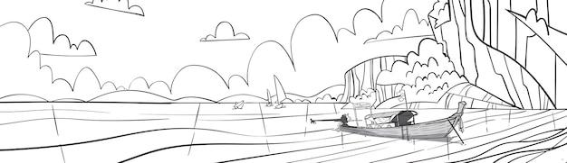 Paisagem do mar de skecth